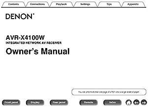 Denon AVR-X4100W Receiver Owners Instruction Manual Reprint [Plastic Comb]