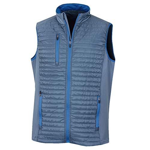 Island Green Herren Golf Mens Lightweight Contrast Thermal Breathable Flexible Outer Layer Gilet Anzug Weste, Burmesisches Grau/Soda Blau, L