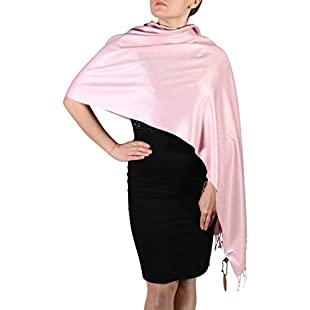 Baby Pink York Shawls Long Soft & Silky Hand Spun Pashmina Scarf Wrap - Lend Opulence to that Wedding, Cruise, Evening Out & Special Event with the Luxurious Cashmere Feel + Free Hanger:Porcelanatoliquido3d