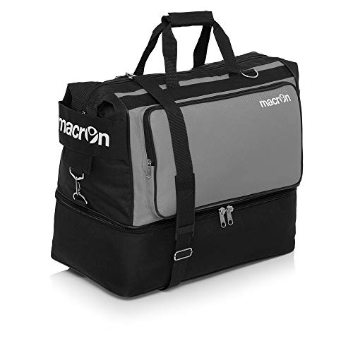 BORSONE MACRON TOPEKA HOLDALL PALESTRA FITNESS SPORT BORSA CALCIO BAGS FOOTBALL TRAINING (Nero / Grigio, Large)