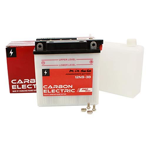 Carbon Electric Batterie 12N9-3B Motorradbatterie 12V 9Ah Akkumulator Motorrad Roller Rollerbatterie