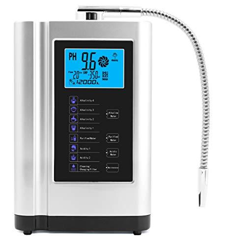 Ionizador de agua, purificador de agua PH 3,5-10,5, hasta 500 mV de potencial redox, 6000 litros por filtro, 7 ajustes de agua, autolimpieza, voz inteligente plata
