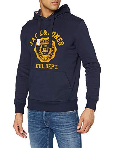 JACK & JONES Herren JJFLOCK Sweat Hood Kapuzenpullover, Navy Blazer/Fit:REG FIT, L