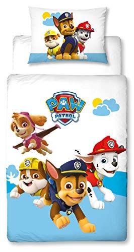 Character World PAW Patrol Kleinkind-Bettwäsche Set, Wende-Motiv, Bett-bezug 100 x 135 cm, Kopfkissen-bezug 40 x 60 cm,100% Baumwolle Cloud