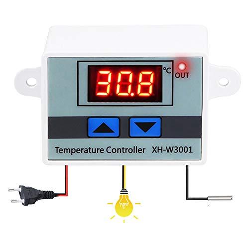 OurLeeme Controlador de temperatura digital, interruptor de control de termostato 10A 220V con pantalla LCD