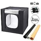 Yorbay Fotostudio Set 60 x 60 x 60cm LED-Fotobox Lichtbox Lichtwürfel Profi Fotografie Lichtzelt inkl. 3 PVC-Hintergrundfolien (schwarz,...