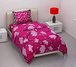 DECO READY 140 TC Polycotton Single Bedsheet with Pillow Cover(1+1) (Dark Pink)