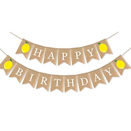HaMoSena Jute Burlap Happy Birthday Banner with Lemon Birthday Party Bunting Garland Summer Lemon Theme Party Decorations for Baby Shower Kid's Birthday Party