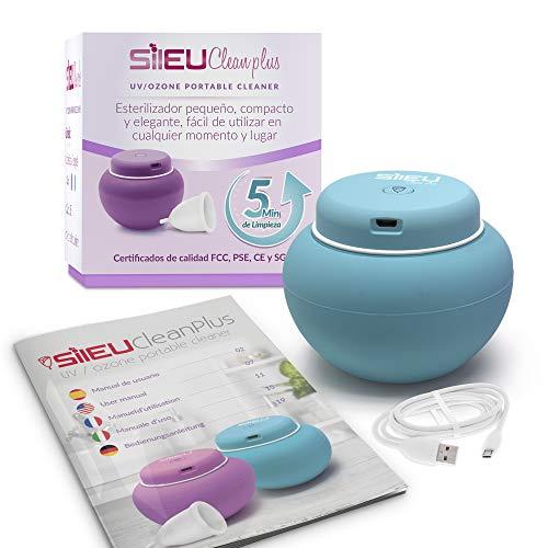 Sileu Clean Plus - Kompakter wiederaufladbarer elektrischer USB-Sterilisator für Menstruationstassen - UV- und Ozonquarzlampe - Blau