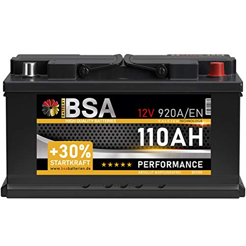 BSA Autobatterie 110Ah 12V 920A/EN Batterie +30{10c58577e0496e7187cf7b32d31a73d0db7dfed5c416154749bf68167d7d3e74} Startleistung ersetzt 90Ah 95Ah 100Ah 105Ah verschlossen