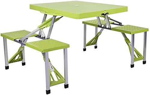 Juego de mesa y silla portátil para exteriores, balcón, jardín, camping, playa, mesa plegable, escritorio para ordenador, Verde, L*W*H: 134*85*67cm