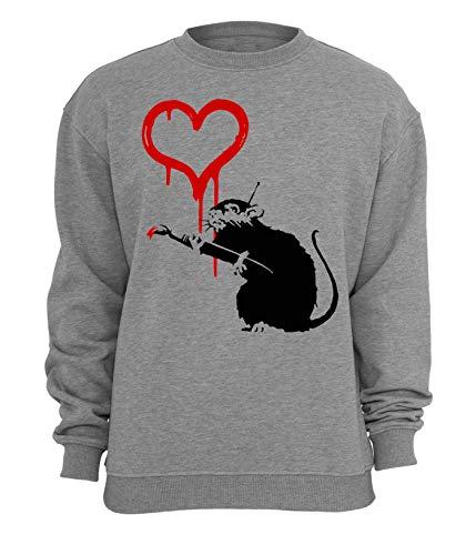 Banksy Rat Schilderij Rood Hart Unisex Sweatshirt