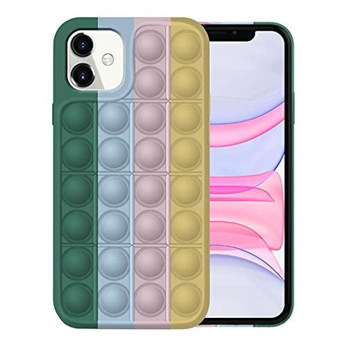 Pop It Fidget Toy Funda para iPhone 12 Funda iPhone 12 Pro Fundas Apple, Fidget Toy Pack iPhone 12 Carcasa iPhone 12 Pro Case Silicona Antigolpes Fidget Toys Case (iPhone 12, 7)