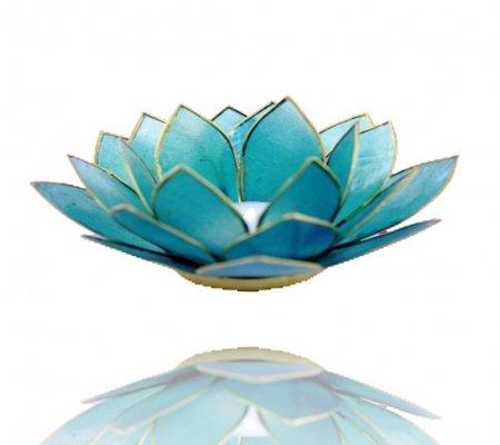 Trimontium Teelichthalter Aquamarin in Form Einer dreiblättrigen Lotusblüte, Capiz-Muschel, türkis, 14 x 14 x 8 cm