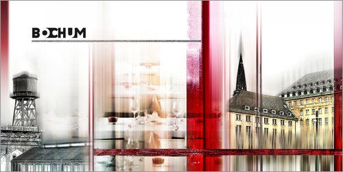 Posterlounge Holzbild 100 x 50 cm: Bochum Collage Stadtansicht 01 von Städtecollagen