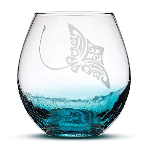 Integrity Bottles Crackle Teal Stemless Wine Glass, Hand Etched Tribal Stingray Design, Sand Carved
