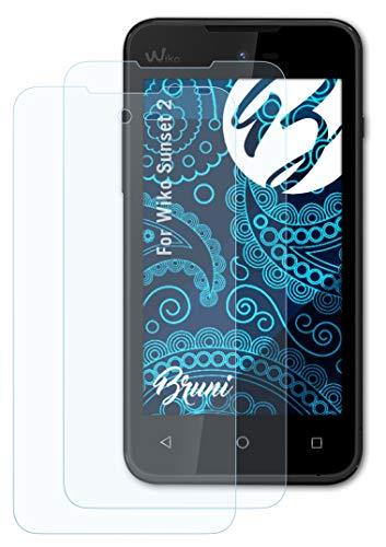 Bruni Schutzfolie kompatibel mit Wiko Sunset 2 Folie, glasklare Bildschirmschutzfolie (2X)