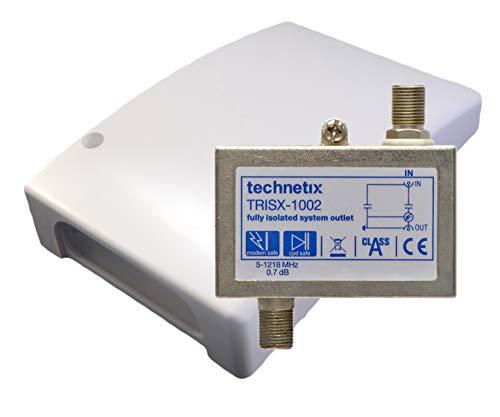 technetix TRISX 1002 - Separador galvanizado (5-1218 MHz, protección contra sobretensión, DVB-C / T2 HD, incluye carcasa)