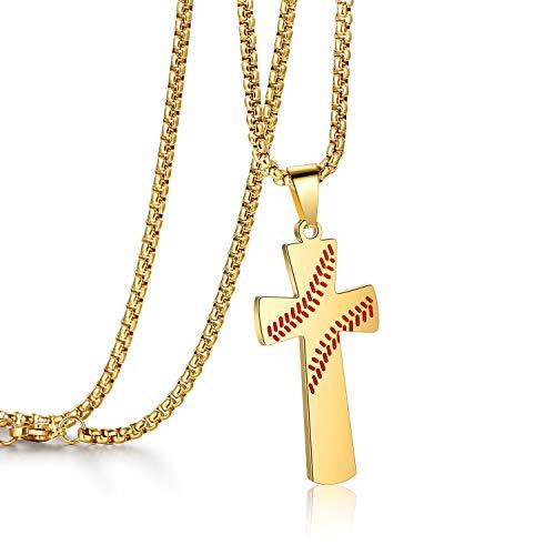 AILUOR Herren Baseball-Kreuz-Anhänger, Können All Things Kraft Bibel-Vers-Edelstahl-Halskette Gold Einstellbar