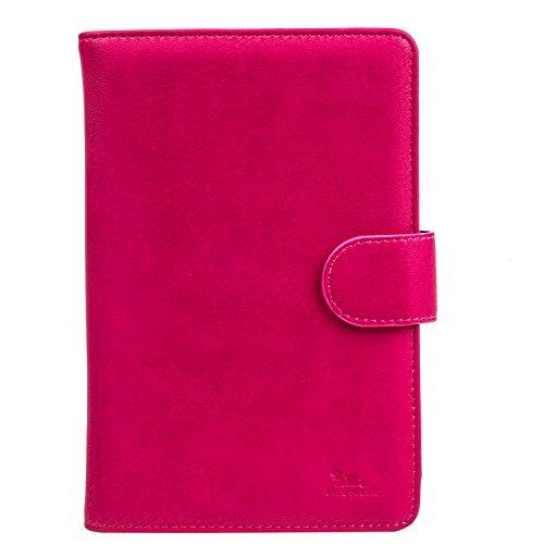 """RIVACASE Kunstledertasche für Tablets bis 8"""" - Hochwertiges Universal Hülle mit neuartigen Montagesystem & Magnet Clip - Pink"""