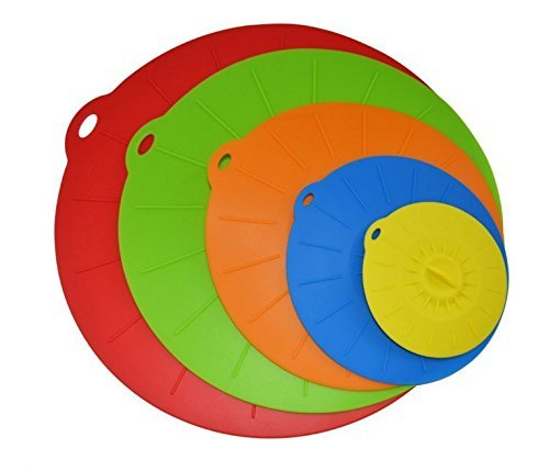 BFOX Silicone Suction Lids-Set of 5 Colorful Diameter 4 6 8 10 12 Inch Reusable Silicone Lid Covers for Pots, Frying Pans, Dishes and Bowls (Muticolor)
