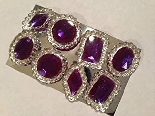 Pack of 8 Edible Sugar Cake Cupcake Jewels Brooch Diamond Decoration PURPLE