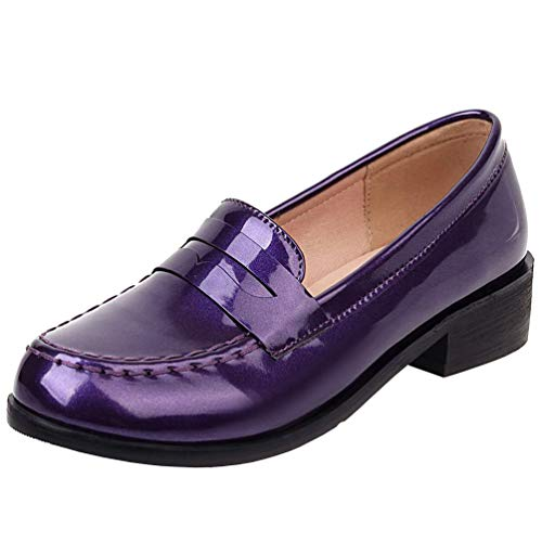 Caradise Women's Patent Leather Loafers Block Heel Slip On Casual Shoes Size 10.5 B(M) US,Purple