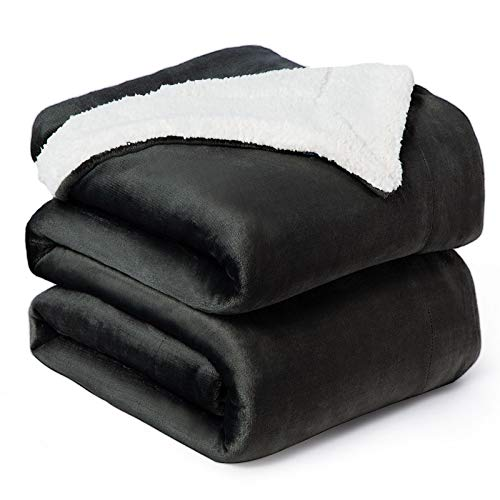 Bedsure Sherpa Fleece Blanket Queen Size Dark Grey Plush Blanket Fuzzy Soft Blanket Microfiber
