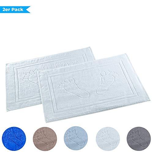 Dreamhome 2er Pack Badvorleger Badematte Badteppich Badgarnitur Vorleger Duschvorleger 50 x 70cm 100% Baumwolle, Dichte 740 g/m², Farbe:WEISS