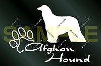 アトリエDOM 少し大きめ 犬ステッカー アフガンハウンド (白)