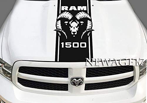 Ram Head Hood Bed Truck Pickup Vinyl Decal Stickers Racing Choose Color (Black)