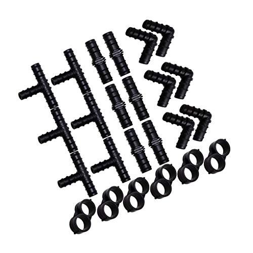 Vkospy Kit de 24 piezas de accesorios de riego por goteo de 24 piezas de acoplamiento en T codos cierre de tubo conectores bardados