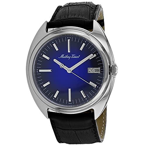 MATTHEY-TISSOT Correa de cuero de cuarzo de acero inoxidable para hombre, negro, 22 reloj casual (Modelo: EG1886ABU)