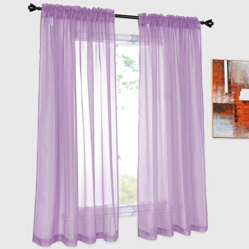 DONREN 2 Panels Solid Color Lilac Purple Sheer Curtains Elegant Rod Pocket Window Voile Panels Drapes for Bedroom Living Room (52X54 Inches)