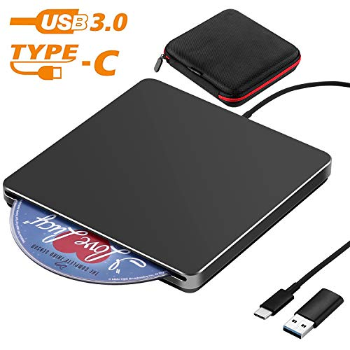 USB C Superdrive NOLYTH - Unidad externa de DVD y CD (USB 3.0, compatible con MacBook Air/Pro/Laptop/PC/Windows 10) negro negro