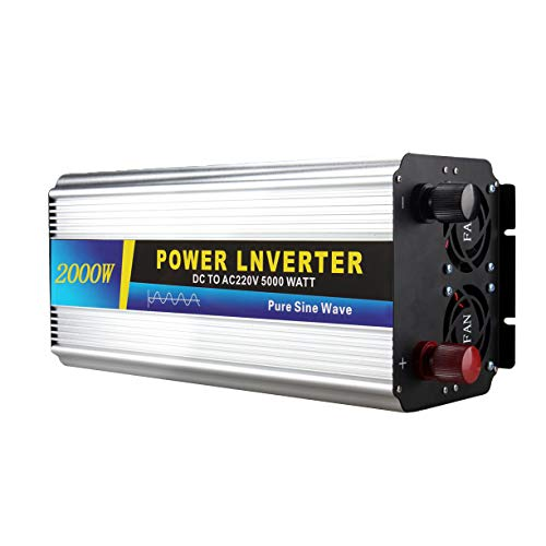 DHRBK Inversor de Corriente de 2000 vatios 12V / 24V / 48V / 60V a 220V, inversor de Coche de Onda sinusoidal modificada, tomacorrientes duales de 220 voltios CA, convertidor de CC a CA