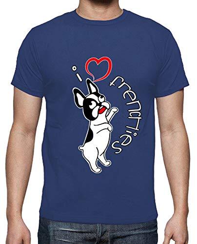 latostadora - Camiseta I Love Frenchies para Hombre Azul Royal XXL