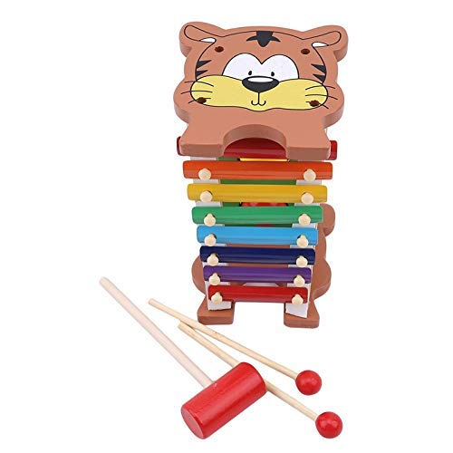 Detazhi Kreative hölzerne Tiger Glockenspiel Xylophon Percussion Spielzeug Frühe Musik Lernen Bildung Spielzeug Musikinstrument Spielzeug (Farbe: Multicolor) (Color : Multicolor)