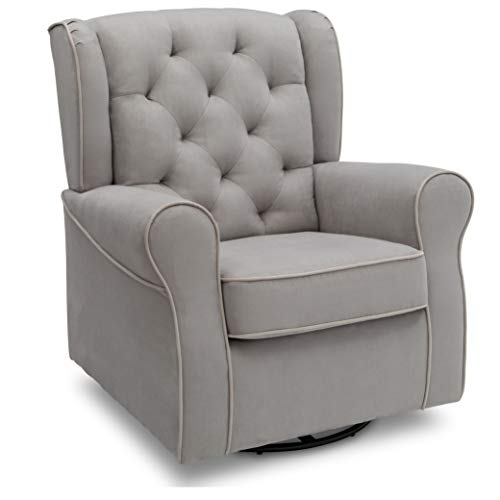 Delta Children Emerson Upholstered Glider Swivel Rocker Chair, Dove Grey with Soft Grey Welt
