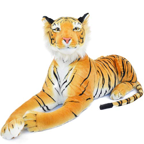 Rohit The Orange Bengal Tiger - 46 Inch (Tail Measurement Not Included) Big Stuffed Animal Plush Cat - by Tiger Tale Toys