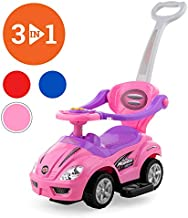 Best Choice Products 3-in-1 Kids Push and Pedal Toddler Ride On Wagon Play Toy Stroller w/ Sounds, Handle, Horn - Pink