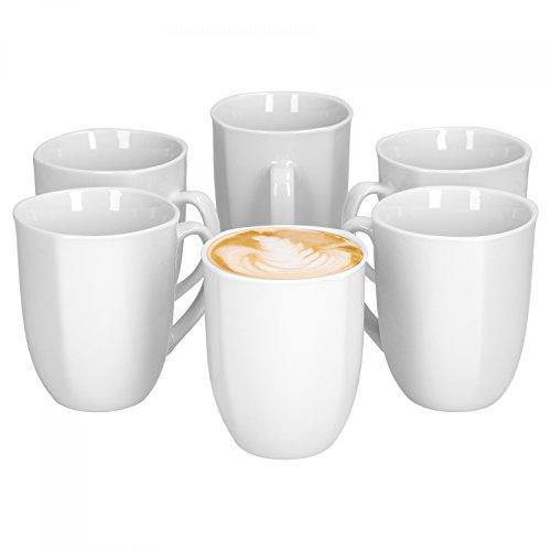 Van Well 6er Set Kaffeebecher Lilli, 350 ml, 80 x 80 mm, Kaffee-Pott, großer Becher, Porzellanbecher, edles Markenporzellan, glänzend, klassisch weiß, quadratisch