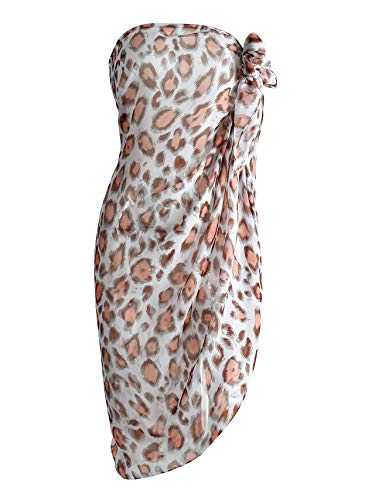 CHIC DIARY Chiffon Strandschal Wickelrock Sommer Damen Sexy Bikini Cover Up Sarong Pareo Strandtuch Leopard Muster Wickeltuch