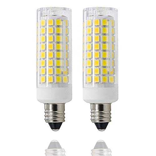 [2-Pack] E11 LED, All-New (102LEDs) E11 Led Bulbs, 8W 75W-100W Equivalent, 850 LM, Daylight 6000K, Dimmable,E11 Mini Candelabra Base, JD T3/T4 360 Degree Beam Angle for Indoor Decorative Lighting