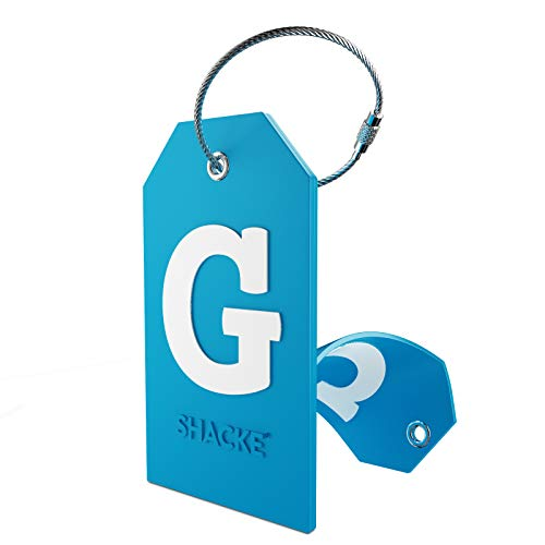 Initial Luggage Tag with Full Privacy Cover and Stainless Steel Loop (Aqua Teal) (G)