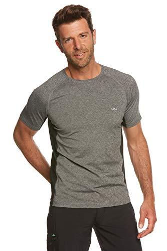 Jeff Green T-shirt fonctionnel respirant Rivara à manches courtes pour homme XXXL Gris mélangé/noir