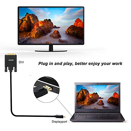 Benfei DisplayPort to DVI DVI-D Single Link 1.8M Cable, Display Port to DVI Adapter Male to Male Gold-Plated Cord for Lenovo, Dell, HP, ASUS and other brand