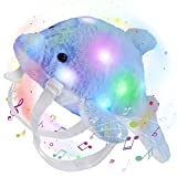 Glow Guards 14'' Musical Light up Dolphin Stuffed Animal Soft Plush Toy Backpack Ocean Animal LED Marine Life Gifts for Toddler Kids