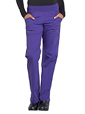 Cherokee WW Professionals WW170 Mid Rise Straight Leg Pull-On Pant Grape M