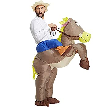 TOLOCO Inflatable Costume Adults Cowboy Costume Inflatable Horse Costume for Boy Kid Blow up Costume Halloween